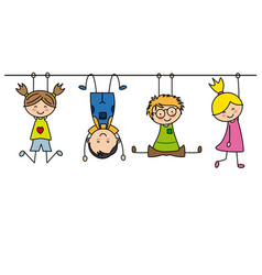 group of children playing vector image