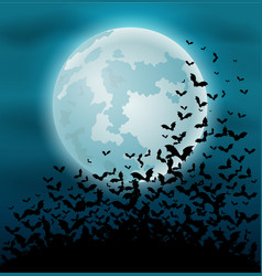 halloween night background with bat and full moon vector image