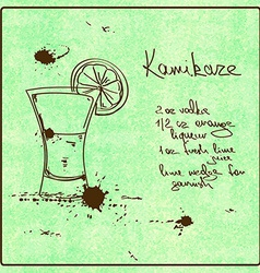 Hand drawn Kamikaze cocktail vector image