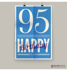 Happy birthday poster card ninety-five years old vector