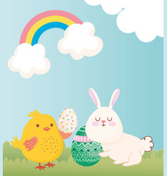 happy easter rabbit and chicken with eggs vector image