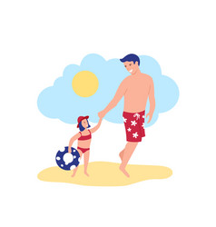 happy father and daughter going to sea in swim vector image