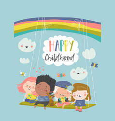 happy kids flying on a swing on rainbow vector image