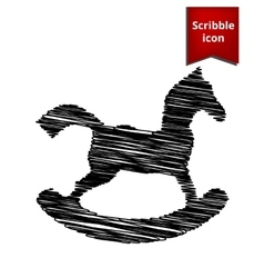 Horse toy icon with pen effect vector