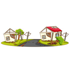Houses destroy from natural disaster vector
