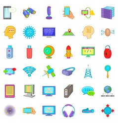 Information cloud icons set cartoon style vector
