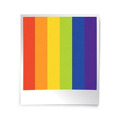 Instant blank photo template with rainbow picture vector image