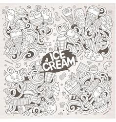 Line art cartoon set of ice-cream doodle vector