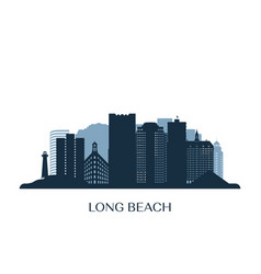 long beach skyline monochrome silhouette vector image