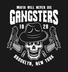 Mafia emblem with gangster skull in fedora hat vector