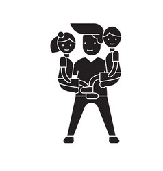 man babysitter black concept icon man vector image