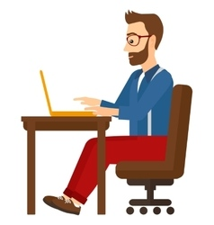 Man working at laptop vector