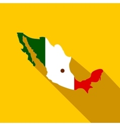 Map of Mexico with the image of the national flag vector image