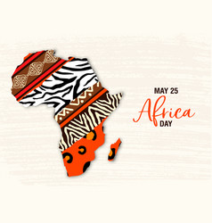 May 25 africa day card animal print map vector