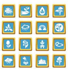 nature icons set sapphirine square vector image