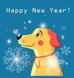 New year card with a yellow dog vector