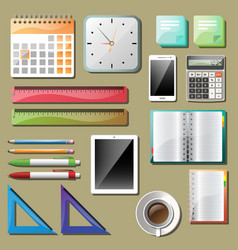 Office tools and devices set vector