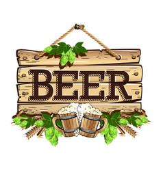 old wooden frame beer vector image