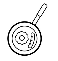pan with egg icon vector image