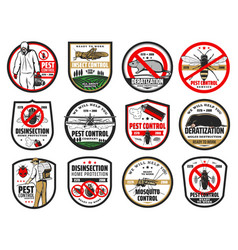 Pest control icons bugs and insects vector
