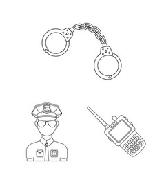 Police department outline icons in set collection vector