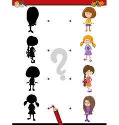 Preschool shadow game with kids vector