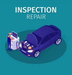 Professional inspection repair in autoservice vector