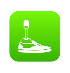 Prosthetic leg icon digital green vector