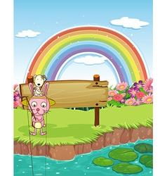 Rabbit and rainbow vector image