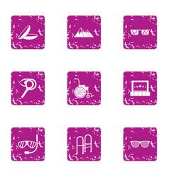 rehabilitation icons set grunge style vector image