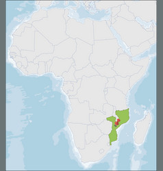 Republic mozambique location on africa map vector