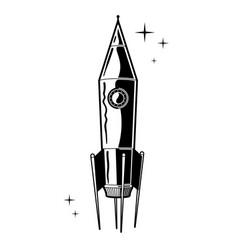 Retro styled rocket cartoon vector