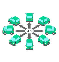 Rotation coupe car 45 degrees vector