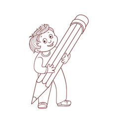 schoolboy holding big pencil in his hands isolated vector image