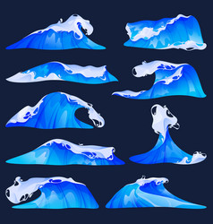 sea or ocean waves set flat icons vector image