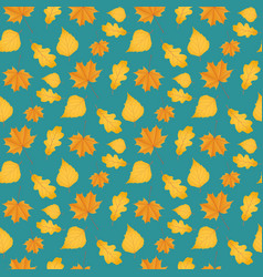 Seamless autumn pattern made yellow leaves vector