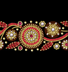 seamless border with flowers embroidered sequins vector image