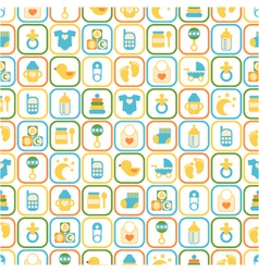 seamless pattern of baby icons vector image