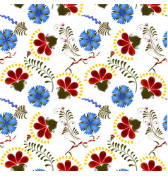 Seamless texture with red and blue flowers vector