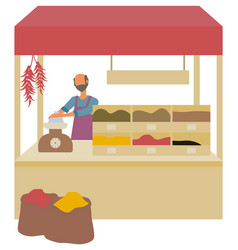 seller at market salesperson with spices in boxes vector image