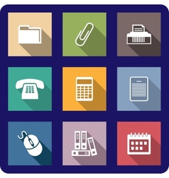 Set of flat office icons vector image