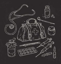 Set of medical tools doctor bag medicines pills vector