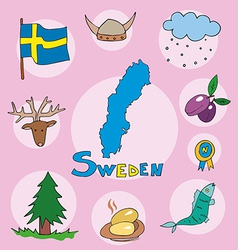 set of national profile of the sweden vector image