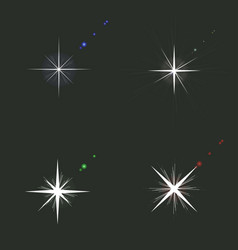 set of sparkle lights glowing light effect in vector image