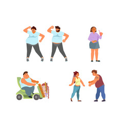 set oversize people characters vector image