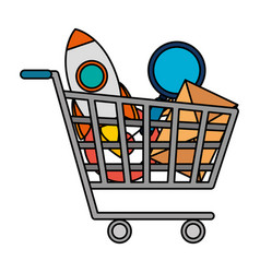 shopping cart with business icons vector image