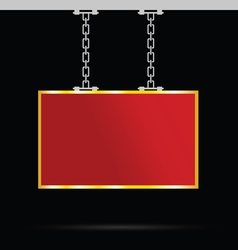 signboard on chain in red and gold vector image
