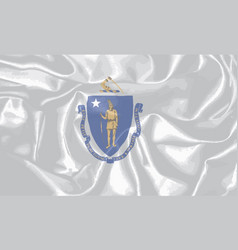 Silk flag of the state of massachusetts vector