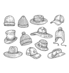 sketch hats knitted winter and summer hats hand vector image