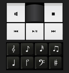 Sound control keyboard and music notes vector
